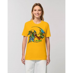 "Camiseta Mujer ""Evolución"" amarillo spectra"