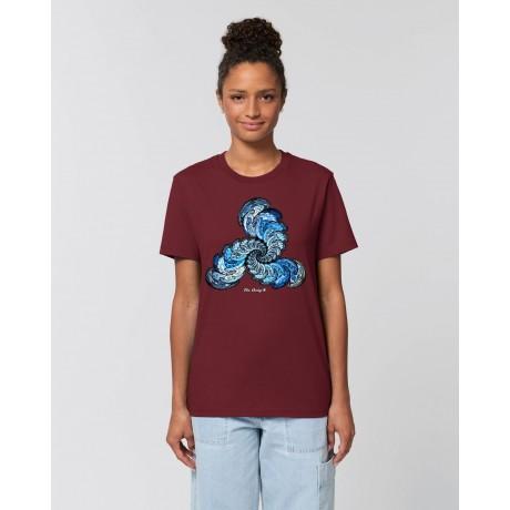 """Camiseta Mujer """"Expansión"""" burdeos"""